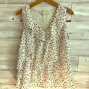 LOFT sleeveless polka dot blouse